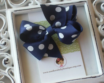 New Item----Little Baby Toddler Girl Hair Bows 2.5 inch---Navy with White Dots----Ready to Ship