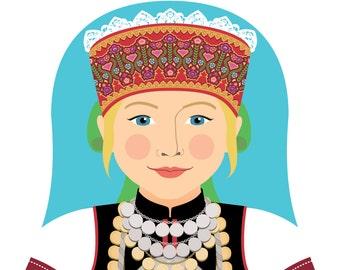 Seto, Estonian Wall Art Print featuring cultural traditional dress drawn in a Russian matryoshka nesting doll shape
