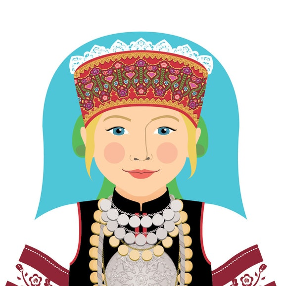 Seto, Estonian Doll Art Print with traditional dress, matryoshka