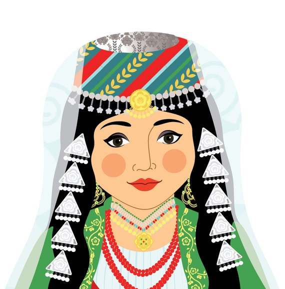 Lebanese Wall Art Print features cultural traditional dress drawn in a Russian matryoshka nesting doll shape