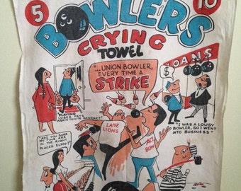 vintage BOWLING bowler's CRYING towel RARE graphics