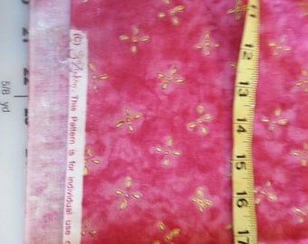 Cotton Quilt Coral Pink blender with Yellow Sue Zipkin