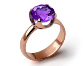 CUP Purple Amethyst Engagement Ring, 14k Rose Gold Amethyst Ring, Amethyst Statement Ring, Amethyst Solitaire Ring
