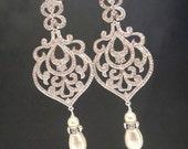 Chandelier Wedding earrings, Crystal Bridal earrings, Art Deco earrings, Bridal jewelry, Crystal earrings, Rose gold earrings, AMELIA