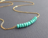 RESERVED for chelsfolkers Turquoise Necklace Gold Dainty Gemstone Jewelry Delicate Stone Light Blue Choker Strand Necklace Beach