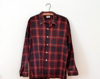 Mens Tartan Shirt Vintage 70s Donegal Red Plaid Shirt 44 Inch Chest