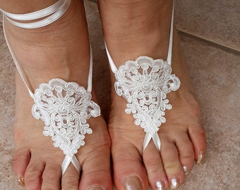 Bridal Lace Barefoot Sandals, Beach, Pool  Sandals, Wedding Accessories,Wedding Gloves,Bridal Sandals