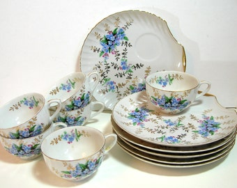 Blue Forget Me Knots Tea Set, Shell Shaped Luncheon Or Dessert Plates With Teacups, Set Of Six