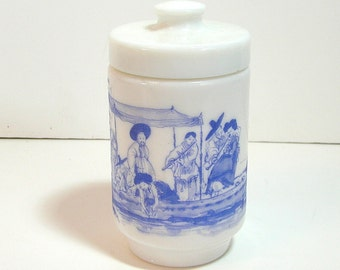 Milk Glass Covered Jar With Blue Toile Design