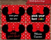 Instant download Minnie Mouse With red bow table tents, escort cards, buffet cards, and food labels in simple clean design