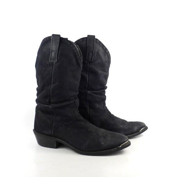 s cowboy boots vintage 1980s black nubuck slouch size