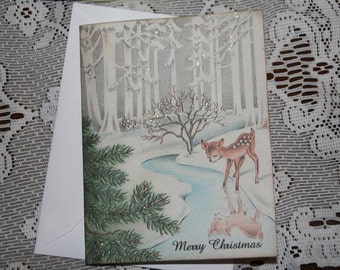 Woodland Baby Deer Cards, Woodland Christmas Card Set with envelopes,Hostess Gift, Vintage Old Fashion Christmas Cards with Glitter