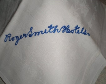 Roger Smith Hotel vintage white linen Napkin tea towel name embroidery in blue