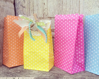 polka dot paper SOS bags, set of 10