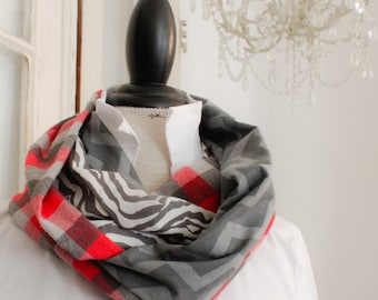 red grey chevron and buffalo plaid infinity scarf