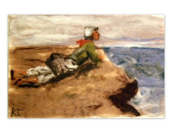 Needle Felt Wool Painting Tapestry 12x18~Boy Dreaming On Coastal Cliff