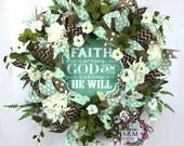 Everyday Wreath, Faith Based Wreath, Petunia Wreath, Front Door Wreath, Hydrangea Burlap Wreath, White and Green, Kitchen Wreath