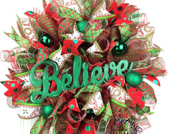 Deco Mesh Christmas Wreath, Believe Christmas Wreath, Red and Green Wreath, Holiday Wreath, Wreaths for Sale