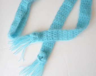 SALE Crochet Angora Skinny Scarf in Pale Turquoise, ready to ship.