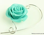 Large Turquoise Rose Shawl Pin, Scarf Pin, Brooch - Jewelry Brooches, Knitting Pin, Knitting Accessory, Scarf Accessory, Knitters Gift