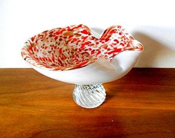 Midcentury Italian Murano Tutti Frutti Red, Copper Aventurine Glass Pedestal Bowl, Compote, Dino Martens Style