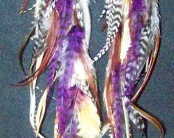 Purple Feather Earrings, Natural Feather Earrings, Extra Long Purple Feather Earrings, Hippy, Extra Long Feather Earrings