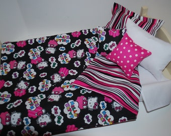 SALE - 18 Inch American Made Girl Doll Clothes and Accessories 6 Pc Bedding Set - Hello Kitty