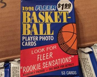 Vintage 1991 Fleer Basketball JUMBO Cello Sports Pack MINT Unopened