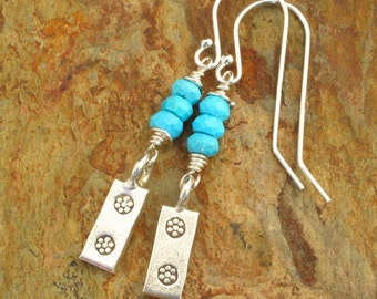 Turquoise Thai Hill Tribe Silver Earrings - Turquoise Tabs