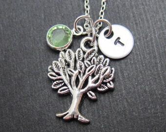 Tree Necklace - Personalized Initial Name, Customized Swarovski crystal birthstone