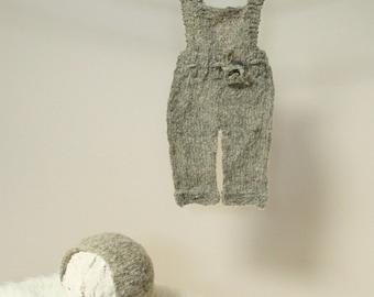 Knit Newborn Overalls, Neptune Knit Newborn Overalls AND/OR Bonnet Newborn Photo Props, Photography Prop, Clothes, Newborn Props, Handmade