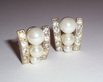 Vintage Earrings with White Faux Pearls and Rhinestones - Clip Ons