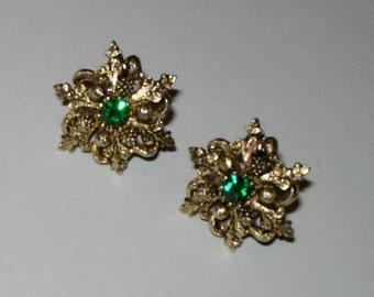 Vintage Green Rhinestone Earrings - Clip Ons