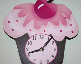 Cupcake Wooden WALL CLOCK for Girls Bedroom Baby Nursery WC0039