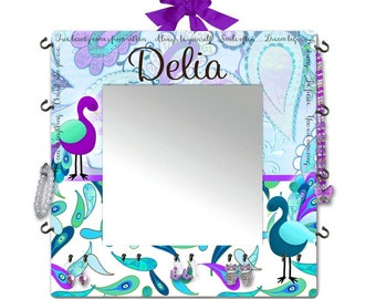 Purple Turquoise Peacock JEWELLERY ORGANIZER with Mirror Girl's Personalized Solid Wooden Mirror Girls Bedroom Jewellery Accessory Organizer