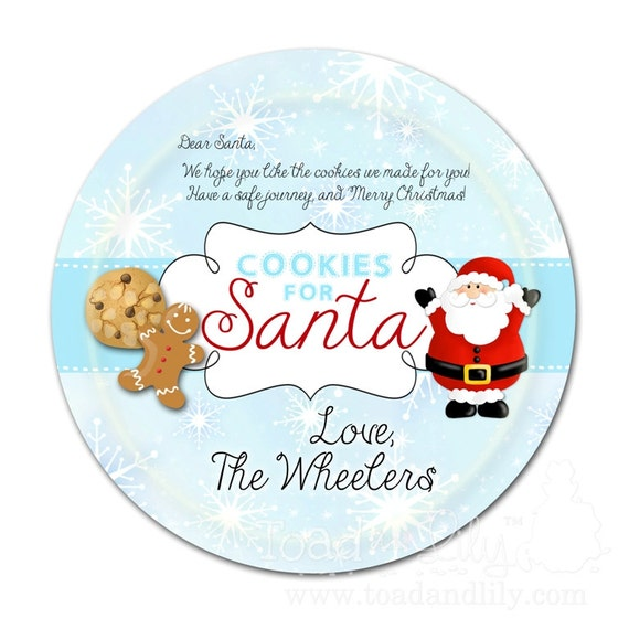 Cookies for Santa Claus Christmas Holiday St. Nicholas DINNER PLATE - Easter Holiday Bunny Rabbit Personalized Dinnerware Plate with Name