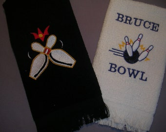 Bowling Towel Personalized bowling pins embroidered you choose your colors and name. Great Christmas gift.