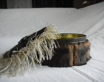 Faux Fur Recycle Can  Bath Salts Holder