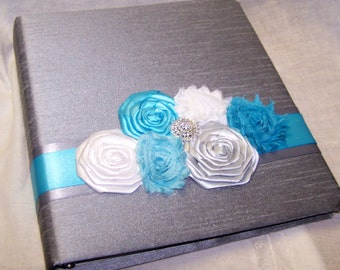 GUEST BOOK, Photo Spot, Custom Guest Book, Turquoise Blue and Gray Wedding, Malibu, Silver, Flowers, Damask, Custom Colors