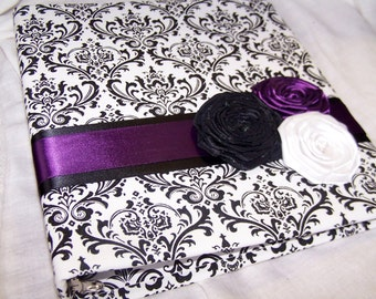 GUEST BOOK, Purple Guest Book, Advice Book, Black and White Madison Damask, Dark Plum Ribbon, Custom Colors available
