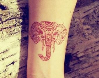 2 Temporary Henna Tattoos Elephant