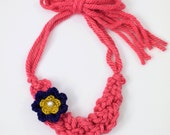 Crochet Braid Necklace With Flower-Pink/Navy