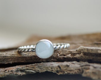Aquamarine Stacking Ring Sterling Silver