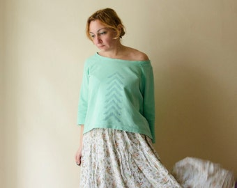 Mint Asymmetrical Hand Stamped Sweatshirt, Off Shoulder Top available in many colors