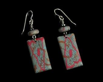 Tribal Dangle Earrings, Unique Tribal Earrings, Polymer Clay Jewelry, Red Blue Tribal Art Jewelry, Unique Gift for Women, Girlfriend Gift