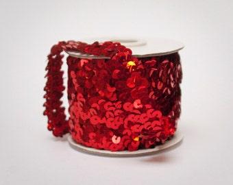 Red Elastic Metallic Flat Sequin Trim, 10 yards Full Spool