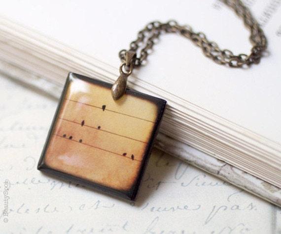 Bird on Wire necklace (Brown) (N050)