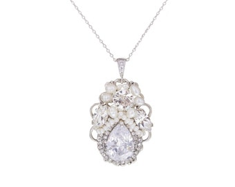Vintage Inspired Wedding Necklace , Crystal Pearl Necklace , Pendant Statement  Necklace ,Wedding Jewelry