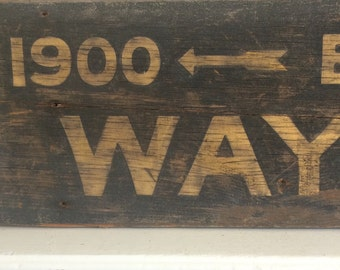 Antique Wood Street Sign - Wayne St Toledo Ohio