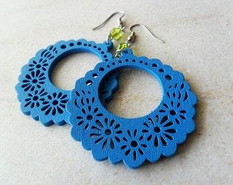 Fun Festive Blue Flower Wooden Hoop Earrings